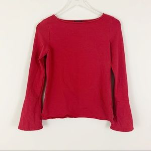 HALOGEN Small Long Bell Sleeve Wide Neck Top